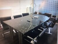 Reduced Italian Nero Marquina Marble Boardroom/Conference/Meeting/Office Table
