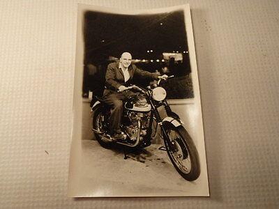 VTG British Triumph Motorcycle MAN IN SUIT ON MOTORCYCLE Unused Old Advertising?