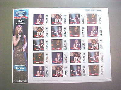 STAMPS.COM/KELLY CLARKSON/AMERICAN IDOL/FULL SHEET 42C STAMPS/NEBRASKA LTD ED
