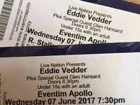 Eddie Vedder concert tickets - 7/6/17 Apollo Hammersmith