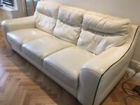 Violino 3 seater sofa couch Cream white leather not sofology DFS