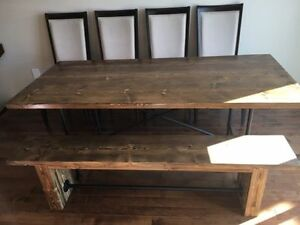 ~~~ Solid wood rustic dining set with 4 chairs and a bench ~~~