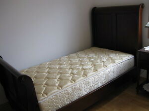 SLEIGH BED AND MATTRESS (TWIN) and BEDSIDE TABLE