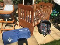 Baby equipment in good condition and fabulous toddler cot which converts to a bed when child older.