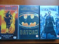 3 VHS Films Cert.15 Batman, Backdraft and The Matrix