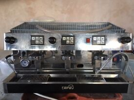 Commercial 4 Group automatic Cappuccino machine with coffee grinder