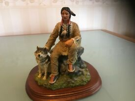 The Leonardo Collection, Running Bear American Indian with Dog Figurine