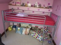 METAL Framed Kids CABIN BED Silver and Pink - Great Condition - Nr Bridlington