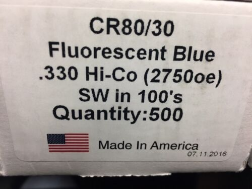 500 Fluorescent Blue PVC Cards - CR80 30 Mil with 2 Track Hi-Co Mag Stripe