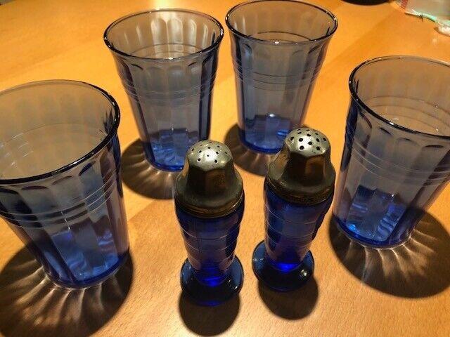 Hazel Atlas Moderntone Cobalt Blue 9 oz. Water Tumblers, & salt / peppers