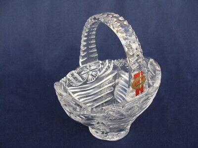 Anna Hutte Bleikristall Germany Hand Cut 24% Lead Crystal Small Basket W/Handle 24% Hand Cut Lead