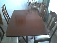 Mahogany table & chairs 1720's reproduction, vgc
