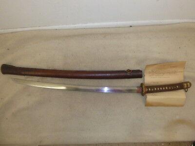 "SUPER JAPANESE SAMURAI SWORD, SHOWA PERIOD, SIGNED, 27"" BLADE, PACIFIC MOUNTS"