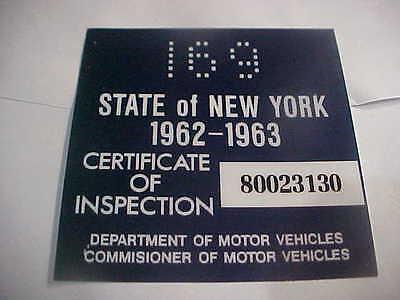 new york 1962-63 inspection sticker windshild