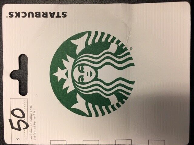 STARBUCKS GIFT CARD WITH TOTAL BALANCE OF 50.00  - $47.00