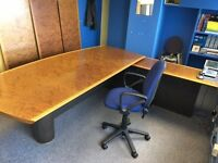 Burr walnut managing director's desk