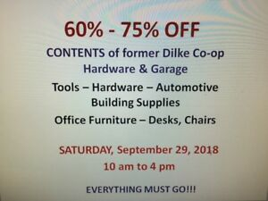 HARDWARE STORE/AUTOMOTIVE GARAGE - Sellout: 60 - 75% OFF