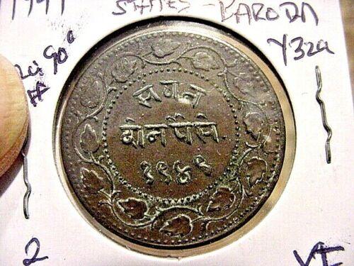 1949   INDIA  NATIVE STATE BARODA  2 PAISA  XF