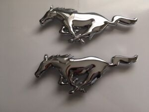 1994 to 2004 Ford Mustang Chrome Grill Pony Emblem, 8 inches