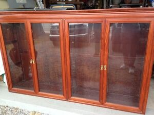 Solid Hard Wood Smokey Glass Cabinet Shelves Top Hutch Display L