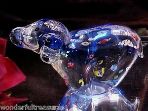 HANDMADE-Vintage-Millefiori-Art-Glass-DOG-Figurine-Paperweight-Murano-COBALT