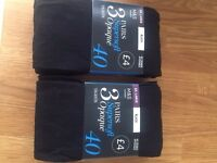 Two packs of 3 pairs (6 pairs in total) M & S black opaque tights - 40 denier - size extra large