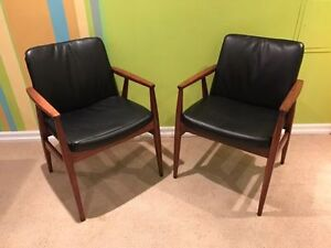 SALE! Mid century solid walnut and leather lounge chairs