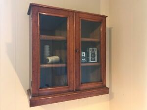 Antique Oak Hanging Display Cabinet with lock and key