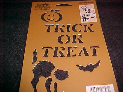 Halloween Stencil Trick or Treat Cat Bat Pumpkin NEW  Plaid mfg Simply Stencil