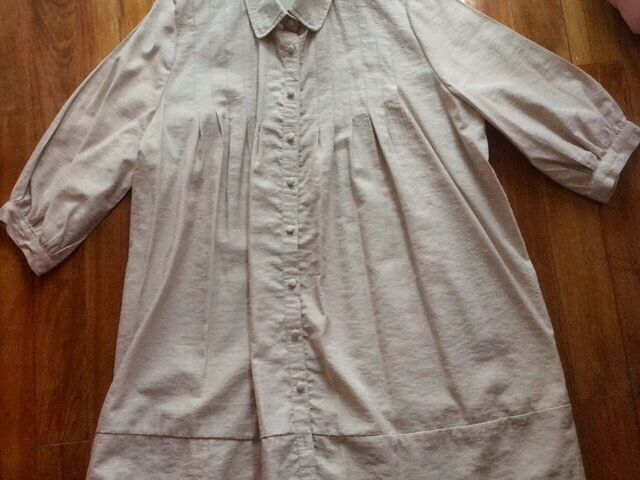 New Long Beige Long Sleeve Shirt with Buttons