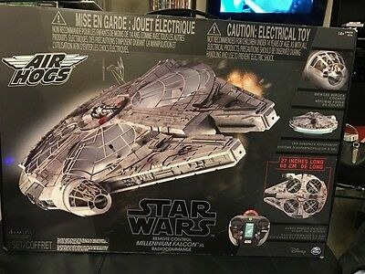 Comet Wars Air Hogs Remote Control Millenium Falcon XL Drone Open But New!!!