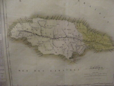 "c. 1825 framed Map of JAMAICA (JAMAIQUE) 21 X 28"" paper, 25 x 31 frame NICE"