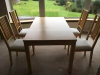 Ikea Hemnes Extendable Dining Table (seats 6-10) and 4 white upholstered chairs, great condition