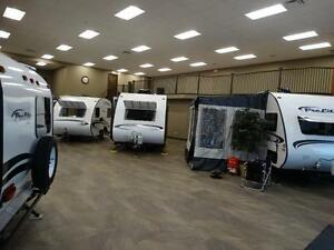 Indoor Display of Light Weight Travel Trailers!