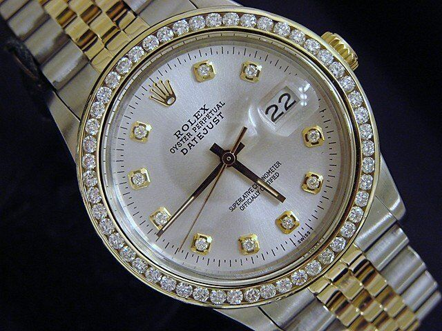 Rolex Datejust Mens 2tone 18k Yellow Gold & Stainless Steel Silver Diamond 16013