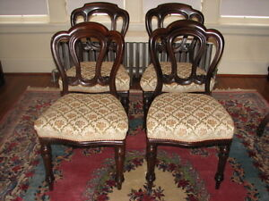 Antique Mahogany Balloon Back Dining Chairs, Carved, Set of 4 Kitchener / Waterloo Kitchener Area image 1