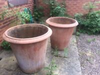 Pair very large terracotta pots 30 inches height and 30 inches diameter good condition