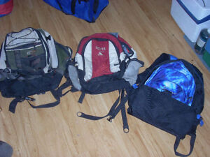 3 BACK PACKS AND CAMPING GEAR