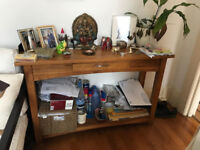 Solid Oak console table. Beautifully crafted. Well made. Other solid oak pieces for sale also