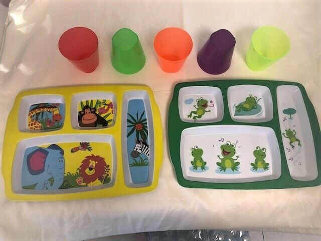 5 Section Toddler Fun Plates and Colorful Cups-**Brand New and Free Ship**