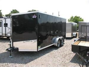 2017 7X16 V-Nose Enclosed Trailer with ramp door London Ontario image 1