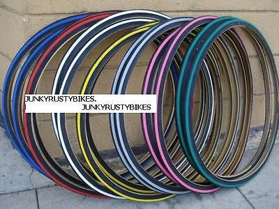 2 TIRES 27X1 1/4 STRIPE COLOR BICYCLE ROAD BIKE TIRES DURO RED BLUE GREEN YELLOW