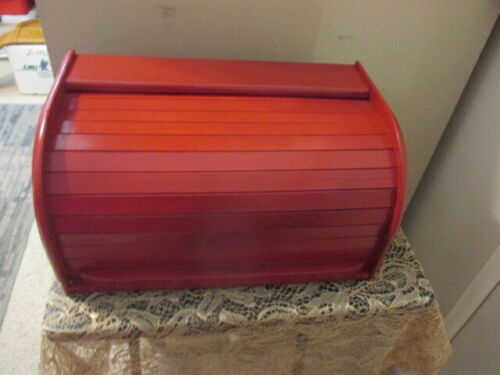 """VINTAGE Wood Bread Box COUNTRY RED 15.5"""" x 8"""" x 9"""""""