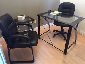 1 office glass desk, 1small glass table, 2 armchairs, 1 ottoman