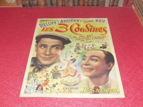 Cinema Poster Original Belgian Signed The Three Cousins Andrex 1947 Fr. Lopez