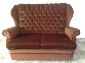 sofa, 2-seater, mini-size, chocolate brown, no wear and tear