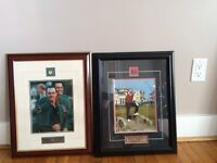 Mike weir and jack Nicklaus framed gold collectable photos