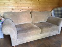 Gold, patterned 3 seater sofa
