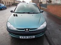 PEUGEOT 206 1.1 LX 5 DOOR HATCHBACK Y REG,, GOOD DRIVER,, CHEAP TO INSURE MOT MAY 2018