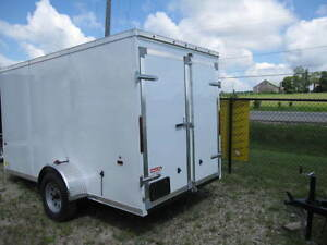 Haulin 6x12 Enclosed Trailer with Barn Doors White